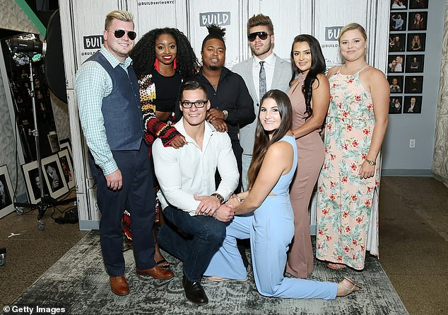 Onscreen love: Prior to falling in love with her husband-to-be, Prowant was in an on and off relationship with fellow Floribama Shore star Gus Smyrnios. They split for good in 2019; (L-R) Jeremiah Buoni, Codi Butts, Kortni Gilson, Aimee Hall, Kirk Medas, Nilsa Prowant, Candace Rice and Gus Smyrnios pictured in 2018