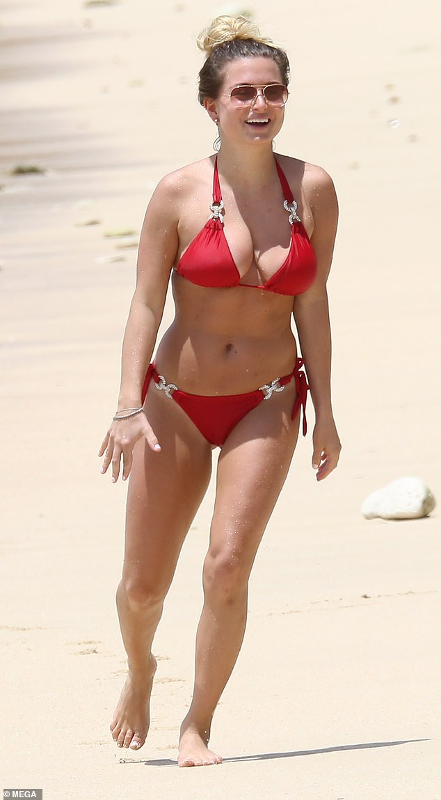 Zara Holland has been charged with breaking coronavirus laws after she tried to flee Barbados with her boyfriend. Pictured: Zara on holiday in Barbados in 2019