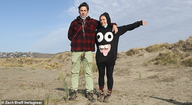 Gushing tribute:Zach Braff in a glowing birthday tribute on Instagram on Sunday hailed his girlfriend Florence Pugh as a 'gift to the world' while sharing several snaps of her