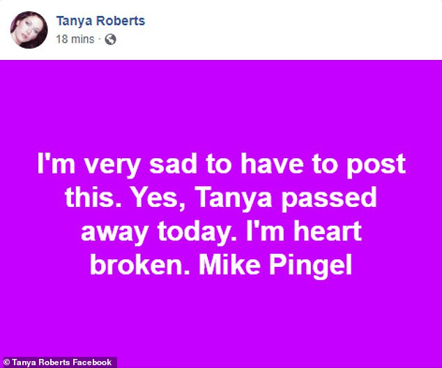 Confirmed:Mike Pringel, who moderated live Q&A sessions with Roberts for her fans, took to her official Facebook page on Sunday to confirmed she had passed away