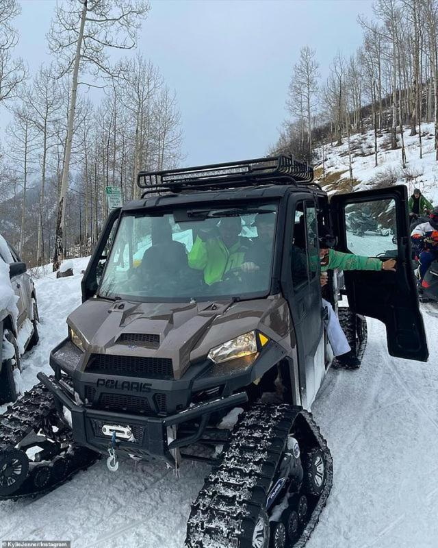 Kylie and company had fun in the snow as they set out on all-terrain vehicles