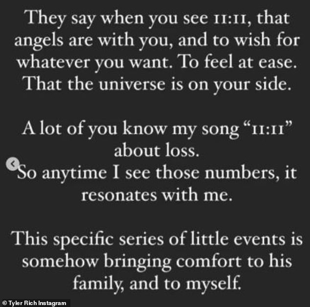 Resonant numbers: Adding to the coincidences was the fact that Rich has a song titled 11:11, which he described as 'about loss'