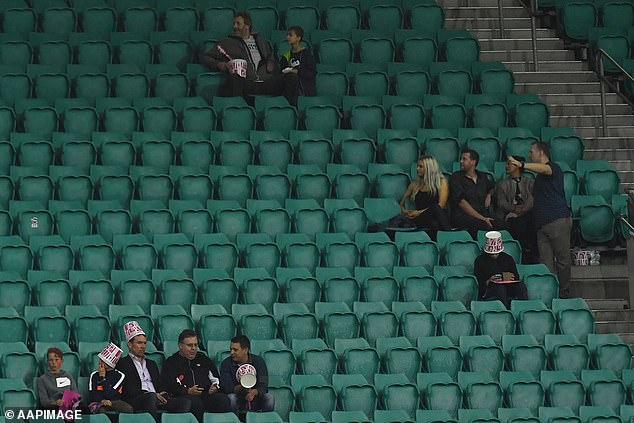 Crowd numbers have been reduced in order to comply with social distancing requirements. Pictured: Fans during the BBL Cricket Final in February