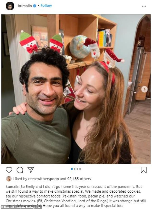 Update: His holiday Instagram post featured a sweet photo of himself and his writer wife Emily V. Gordon, while another snap showed him looking absolutely ripped next to a gingerbread house