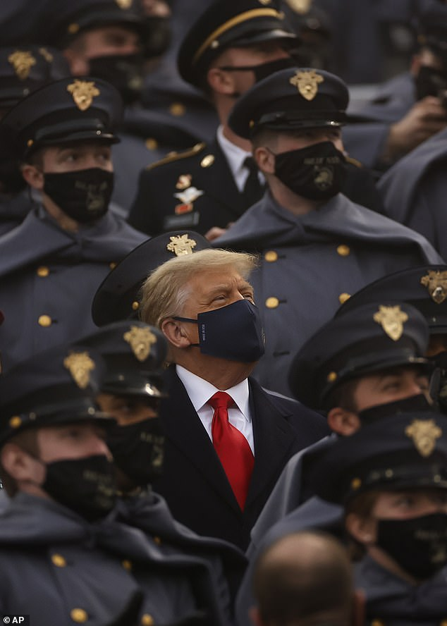 Trump is pictured at the United States Military Academy last month