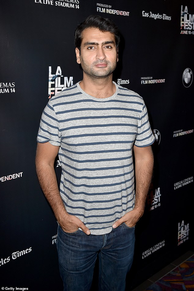 Major transformation: Nanjiani previously displayed a more average physique for his comic roles on Silicon Valley and in the autobiographical comedy The Big Sick; seen in 2015
