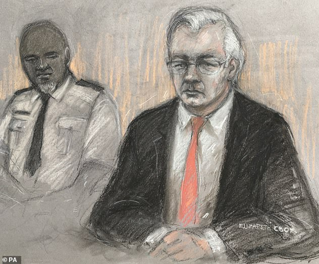 Assange faces 18 charges in the US relating to the 2010 release by WikiLeaks of 500,000 secret files detailing aspects of military campaigns in Afghanistan and Iraq (Above, a court sketch of Assange at the Old Bailey during a hearing in his extradition battle)