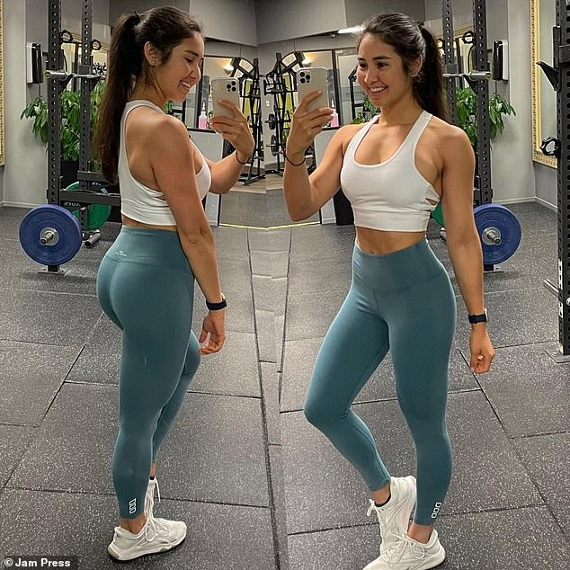 The fitness coach does weight training five days a week at the gym with some HIIT and bike/stair master/bodyweight circuits or running sprints when she's preparing for a competition