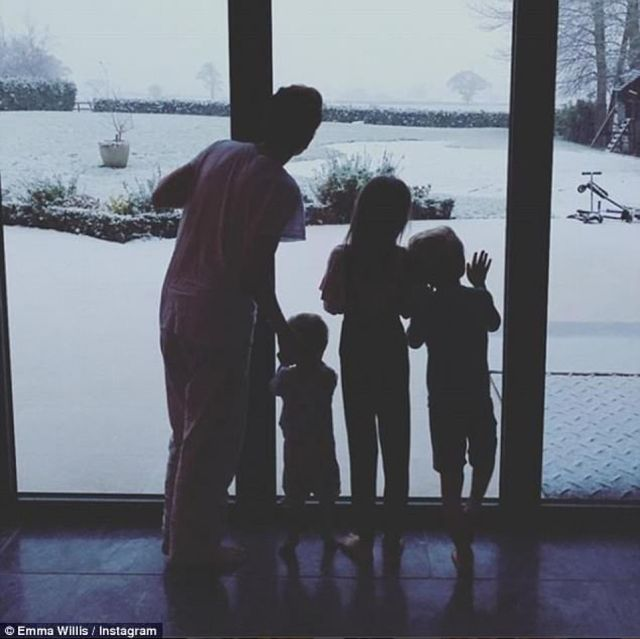 Home: Emma is seen with the couple's three children in a sweet Instagram post in 2018