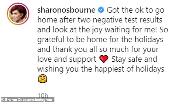 Welcome back! After spending approximately 10 days apart, Sharon shared on December 23 that she'got the OK to go home after two negative test results'