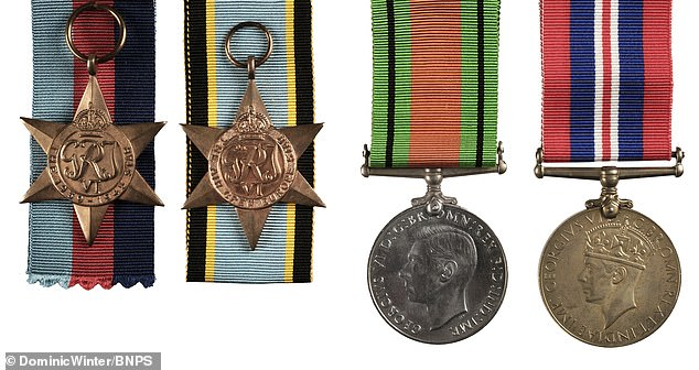 Pictured: The medal set awarded to Leading Aircraftsman John Morton, comprising of a 1939-1945 Star with Bomber Command clasp, Air Crew Europe Star, War and Defence Medals