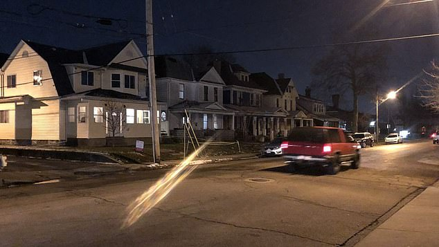 The father called 911 and pleaded with the emergency dispatcher to send help quickly as he explained 'my baby ain't breathing'. Pictured: The street where the family live in Dayton, Ohio