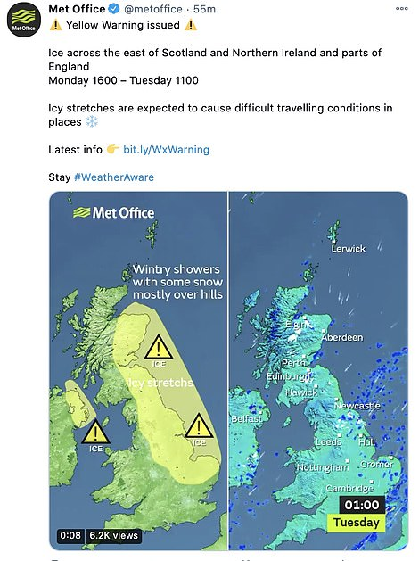 The Met Office warns of icy stretches across the North east and Scotland