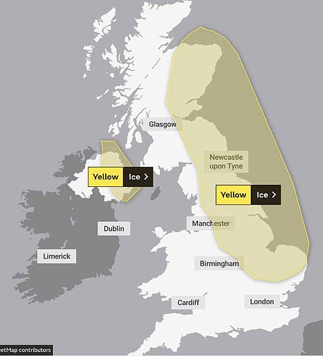 A weather warning for ice in place across the east of Scotland and Northern Ireland and parts of England from 4pm today until 11am tomorrow