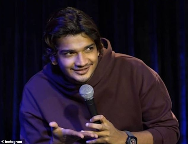 Munawar Faruqui, 28, (pictured at another stand up event) was detained with five other comics in the city of Indore on Friday after violence erupted when he allegedly poked fun at deities and the ruling right-wing BJP party