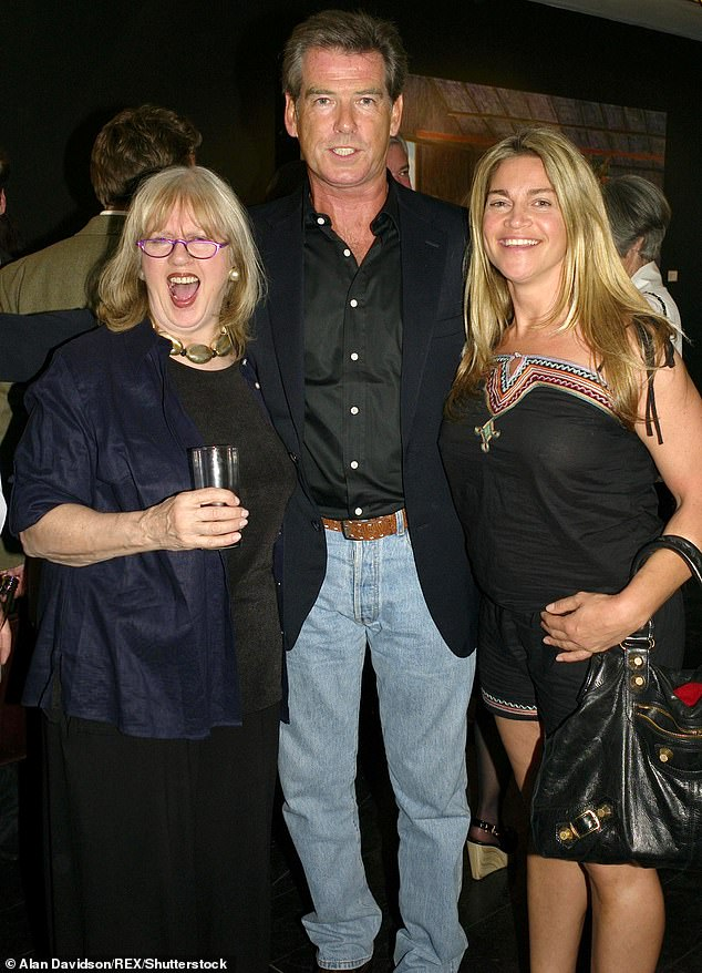 Moving: Milica Kastner, 49, daughter of American film producer Elliott Kastner and British celebrity interior designer Tessa Kennedy, was diagnosed with cancer in February 2019. Pictured: Milica and Tessa with Piers Brosnan at an event in 2007. Milica was a close friend of Brosnan's daughter Charlotte, who lost her battle with cancer in 2013
