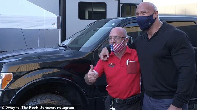 Returning the favour: Dwayne 'The Rock' Johnson, 48, has gifted a truck to lifelong friendBruno Lauer, who took in the actor when he became homeless as a teenager