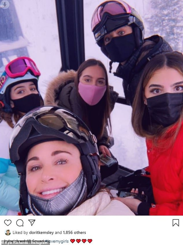 Good looking family:he rang in Christmas and New Years in the stunning snowy getaway. And on Sunday afternoon, Kyle Richards shared a beaming snap of herself with her four daughters while in a gondola during their fun filled Aspen, Colorado trip