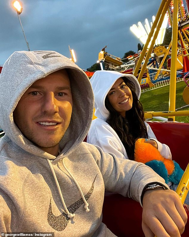 NRL star George Williams and his partner Charlotte Lewis spent two days in Batemans Bay last week, which has landed them in hotel quarantine after flying to Melbourne on Monday. They're pictured enjoying a night at the fair in Batemans Bay last week