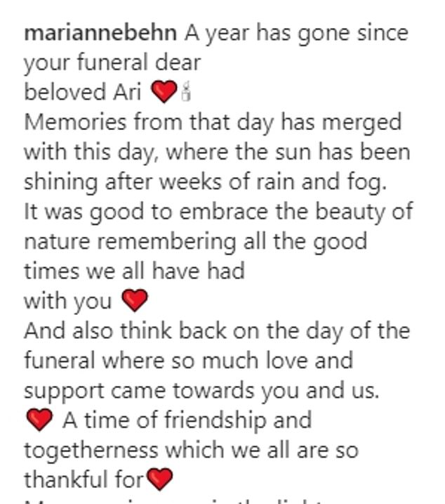 The grandmother shared a lengthy caption as she marked the one year date since Ari's funeral last January