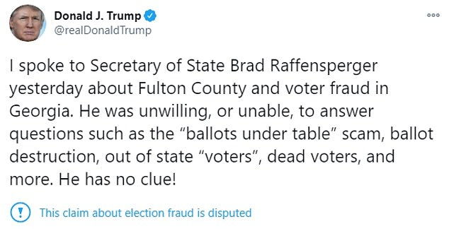 Trump wrote Sunday that Raffensperger 'has no clue!' What followed was a leak that has Trump facing potential criminal exposure, although it is unclear if he would be prosecuted for laws that prohibit knowingly pressuring an election official