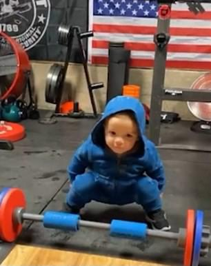 Heexpertly bend his knees and copies his father by using the weight