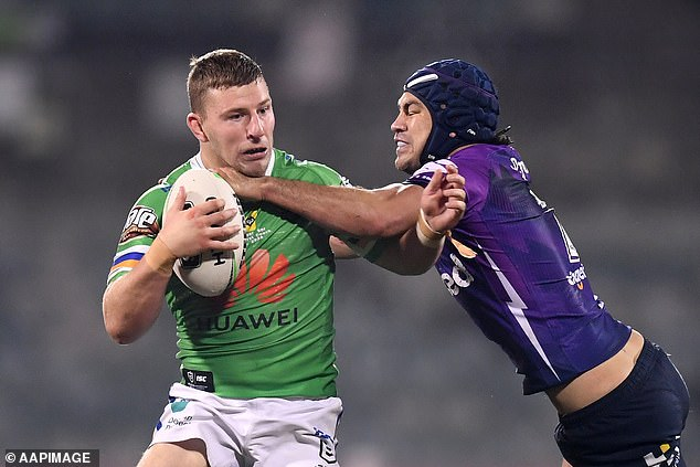 The star pictured in action for the Canberra Raiders in July 2020 as they played their round nine NRL match with Melbourne Storm