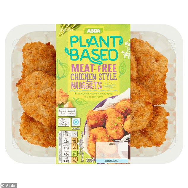 Plant-based diets are continuing to grow in popularity, with Asda - which won Vegan Retailer of the Year at the 2020 Q Awards - seeing a 175 per cent increase year on year in online searches for vegan on its website. Pictured: its new Vegan Chicken Nuggets