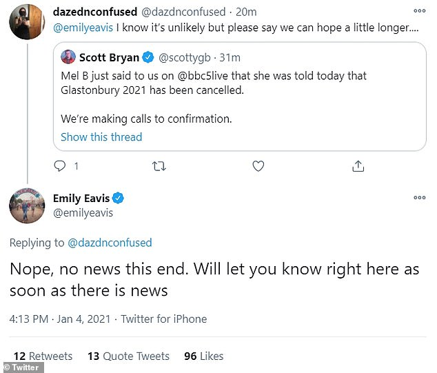 Still hope? However, show bosses claimed that there was 'no news' on whether the event would go ahead, as Emily Eavis tweeted in response to Mel's claims