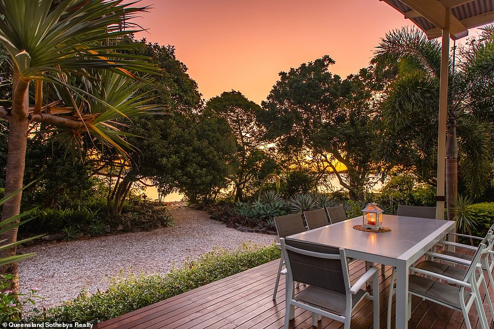 The idyllic isle has a single off-the-plan home with a multiple indoor and alfresco entertaining areas, a pool and spa, two bathrooms, carports and panoramic views of the Coral Sea