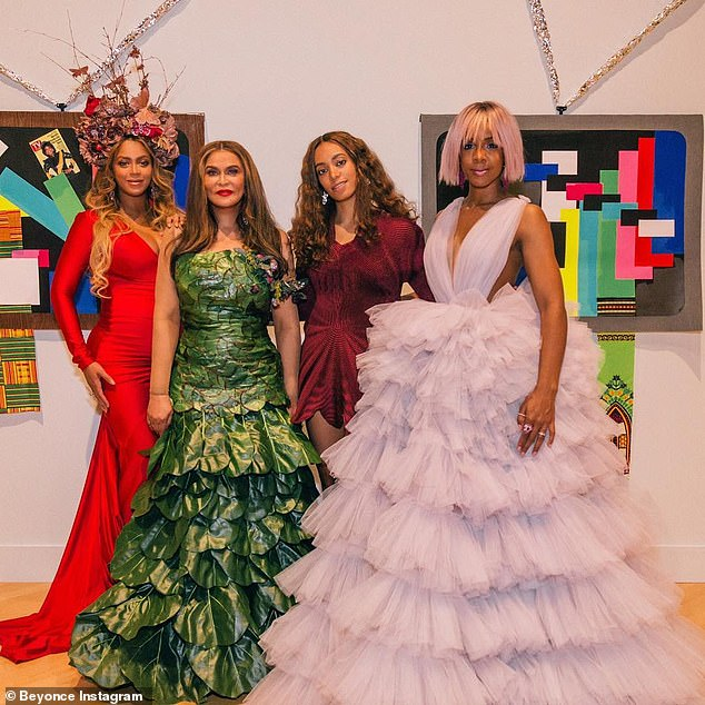 Matriarch: Mother to Beyonce and Solange, she has been instrumental in helping to guide them throughout their careers; (right to left:) Beyonce, Tina, Solange and Kelly Rowland pictured April 2017