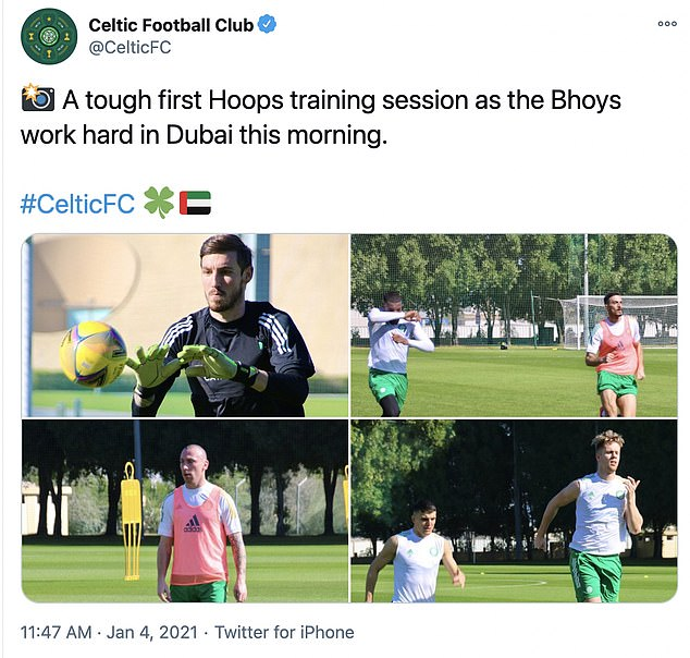 Celtic's Twitter account posted photos fo the players being put through their paces in the sun