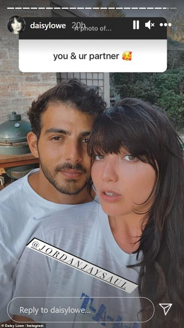 Romance:Daisy Lowe looked loved-up as she shared a snap of herself alongside her boyfriend Jordan Saul to her Instagram Stories on Monday