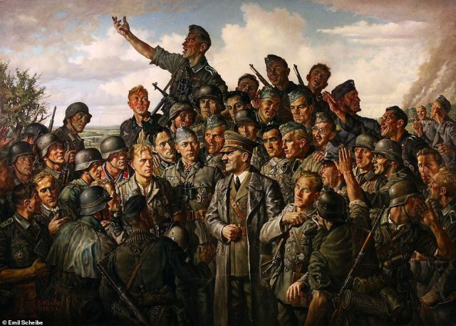 """""""Hitler at the Front,"""" by Emil Scheibe (1942)depicts the Nazi leader in a leather coat, surrounded by adoring soldiers"""