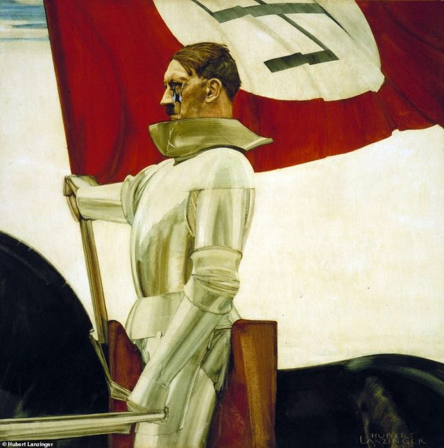 Among thechilling paintings is 'Der Bannertrager,' or the 'Standard Bearer,' which depicts Hitler on horseback in the armor of a Teutonic knight, carrying the Nazi flag. A U.S. soldier thrust a bayonet through Hitler's face when the painting was captured