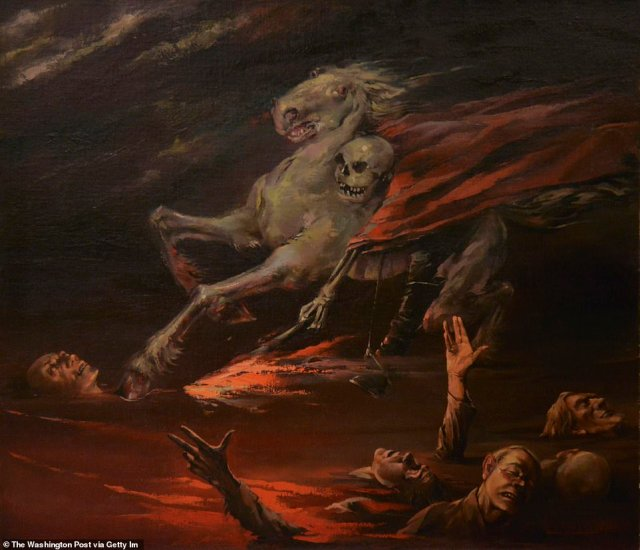 """Willfried Nagel's """"The Red Terror"""" (1942)depicts a skeleton in a red robe atop a white horse galloping across a fiery sea of drowning victims"""