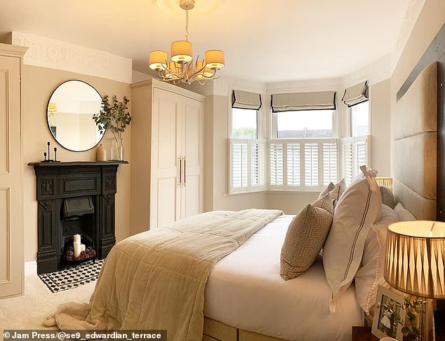 The pair revamped the bedroom of their1907 Edwardian terrace house, pictured after the couple's transformation
