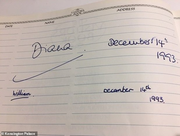 The second image shared by Kensington Palace shows William's signature next to Princess Diana in the visitor's book entry from December 1993