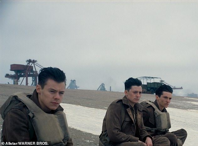 Acting stint:Harry took over Shia LaBeouf¿s role as Florence Pugh's love interest in September last year, and it is his first screen role since the 2017 movie Dunkirk (pictured left in the film)