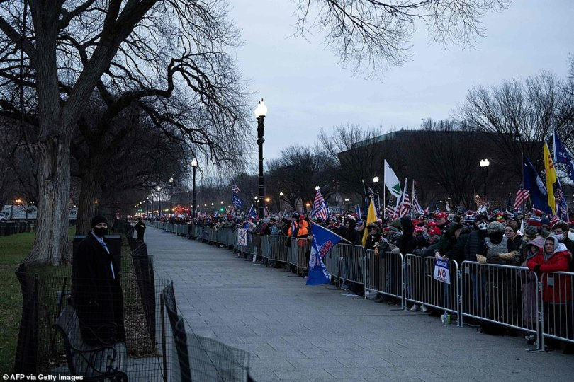 Trump supporters lined up in the early morning hours of Wednesday on the Ellipse just outside of the White House