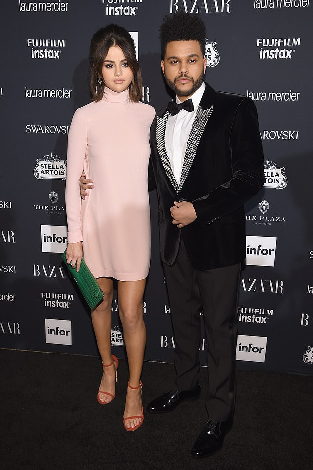 Former flames:The Weeknd and Selena Gomez split in October 2017 after 10 months of dating, with the former lovebirds referencing each other in their music over the years since their breakup; pictured September 8, 2017 in NYC