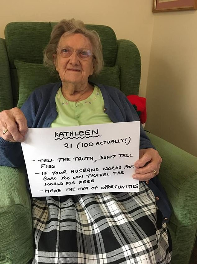 Kathleen, 100, pretended she was 21 before telling others not to tell fibs and to 'make the most of opportunities'