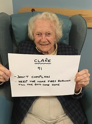 Clare, 91, harked back to the days of the Second World War as she said: 'Keep the home fires burning until the boys come home'