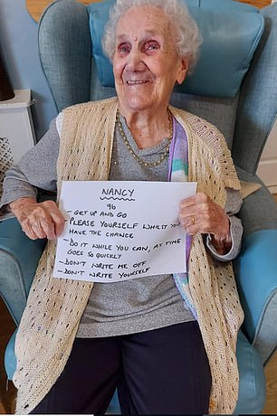 Nancy, 96, told others not to write her, or themselves, off quite yet