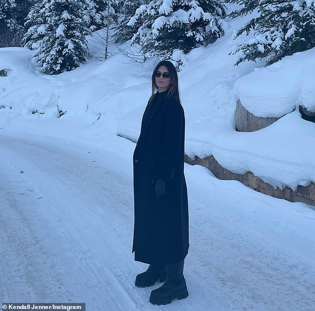 Snowy escape: Jenner showed off her wide range of winter looks as she posed up a storm on social media
