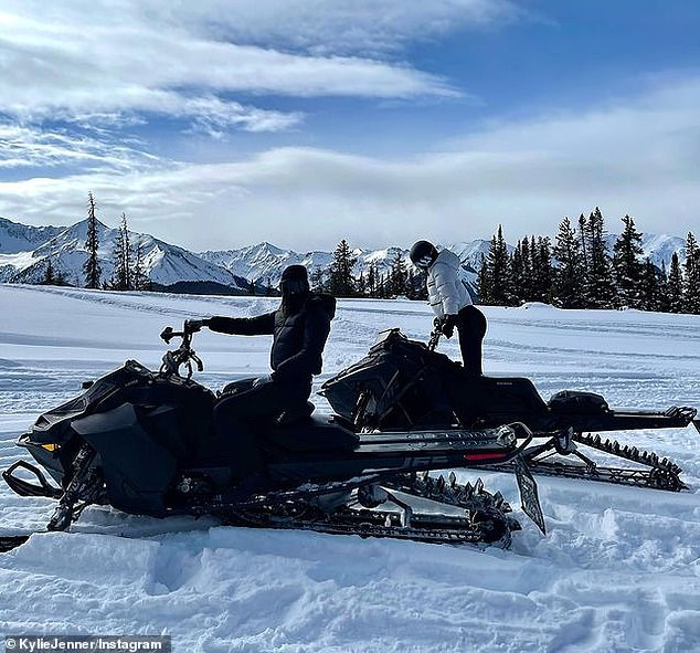 Sibling day: Kendall and Kylie shared glimpses from their day snowmobiling as they tore up the slopes with their friends