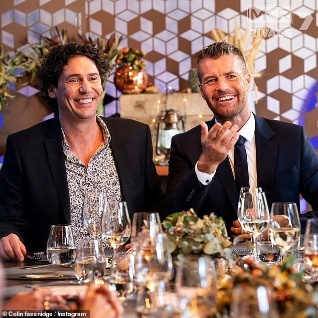 Former colleagues:Colin (left) was approached by Channel 10 to appear on I'm a Celebrity after Pete (right) - who was originally slated for the role - was sacked for sharing a cartoon on social media which depicted an image of the neo-Nazi Black Sun symbol. Pictured on MKR