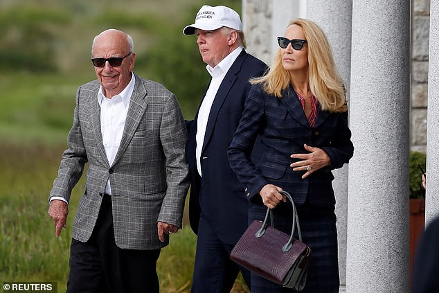 The Australian media mogul and wife Jerry Hall visited the golf course at Trump's invitation