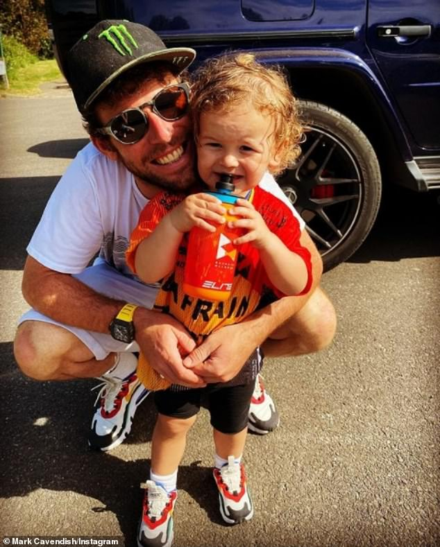 'Two wheel life!': British cycling champ Mark Cavendish's two-year-old son Casper rides a motorbike round the garden as star is 'blown away' by toddler's skill