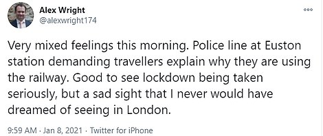 Police at Euston were this morning seen stopping passengers to ask where they were going. Barrister Alex Wright tweeted: 'Good to see lockdown being taken seriously, but a sad sight that I'd have dreamed of seeing in London'